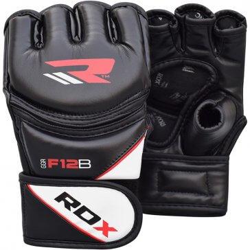 RDX Sports Leather X MMA Grappling handschoenen Black/Zwart