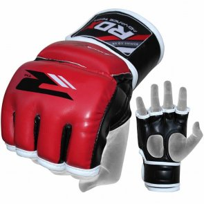RDX-Sports Grappeling MMA Handschoenen Leather-X Rood